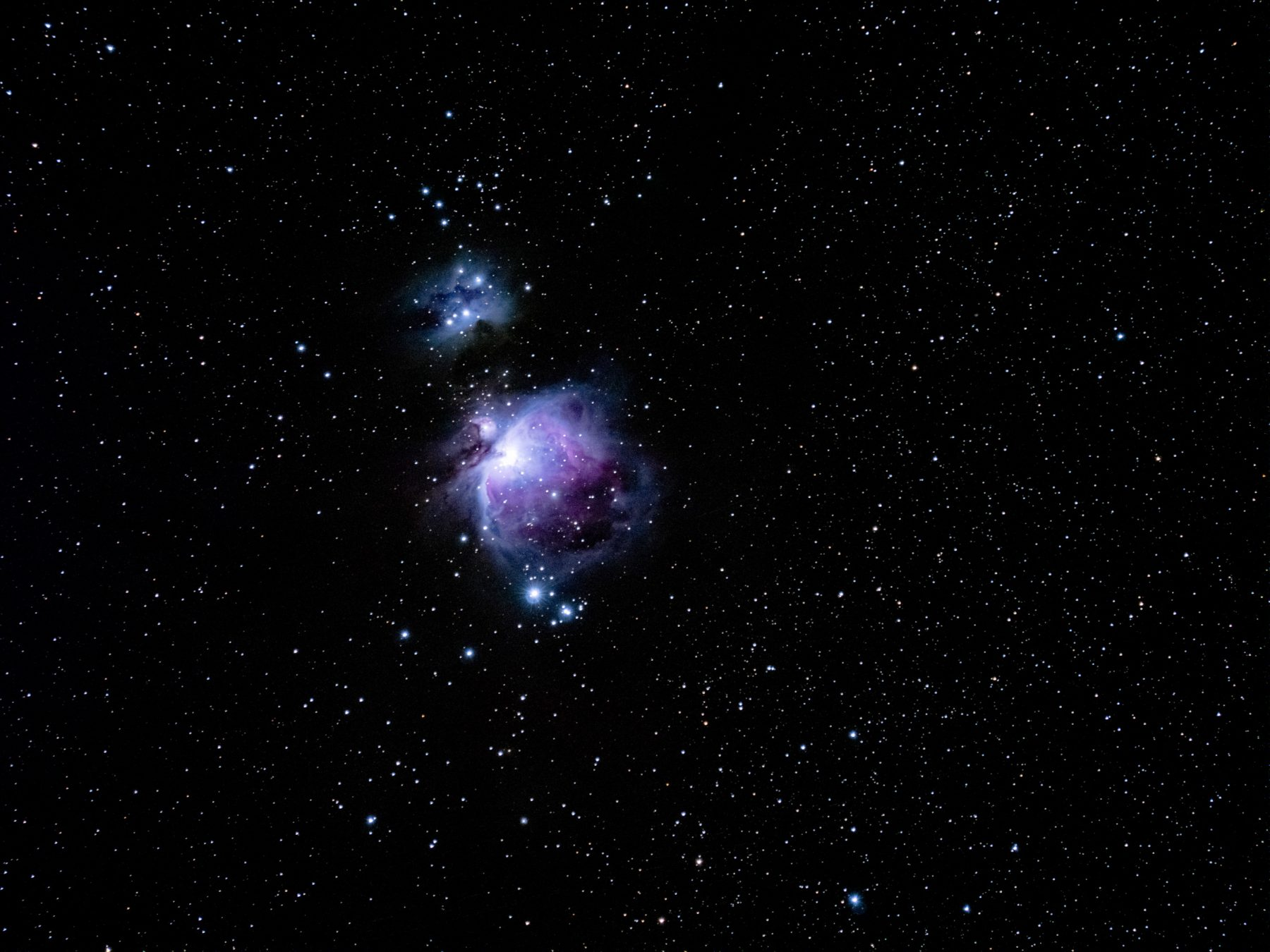 The Orion Nebula tracked at 420mm -19 pictures - 20sec each